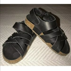 Zara LEATHER Toddler Girl Sandals EU sz 21/5.5 US